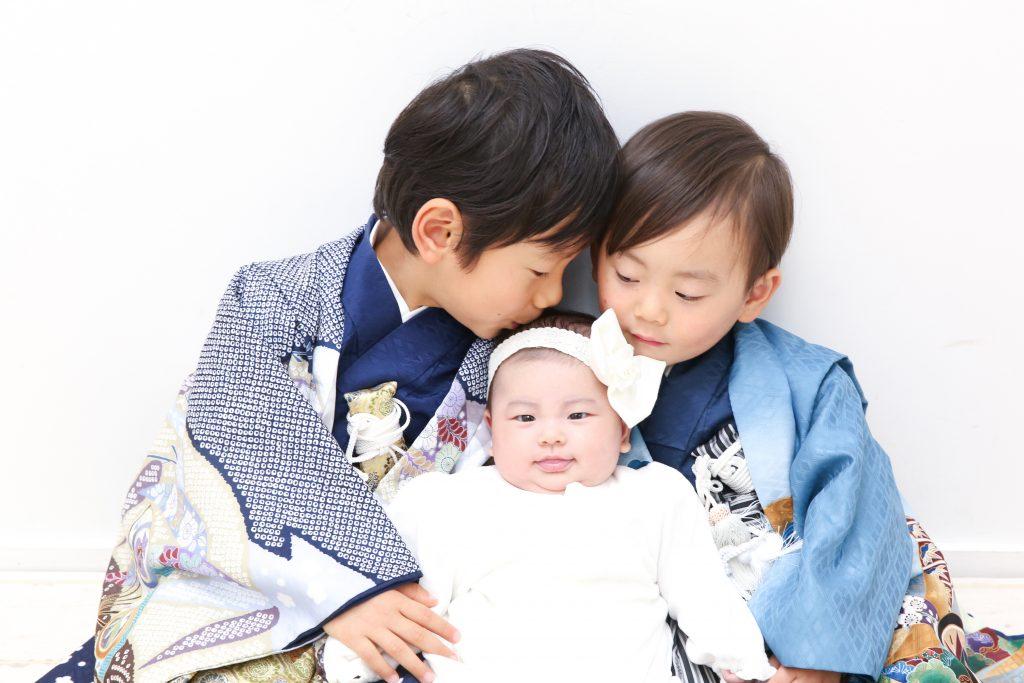 【753・お宮参り】5歳男の子・2歳男の子・2か月女の子