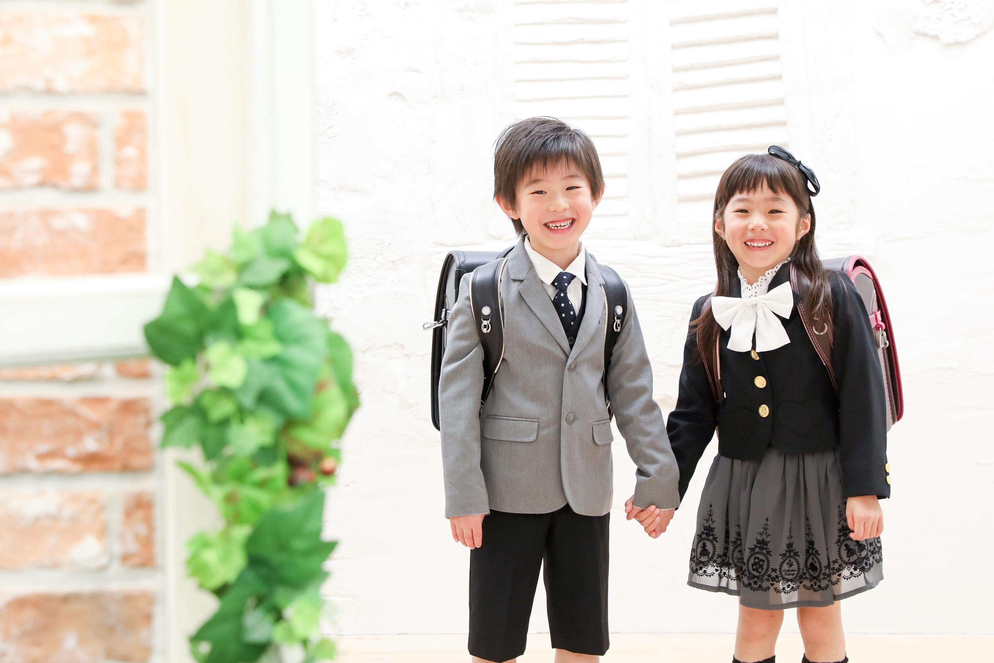 【入学】6歳の男の子・女の子従兄妹撮影