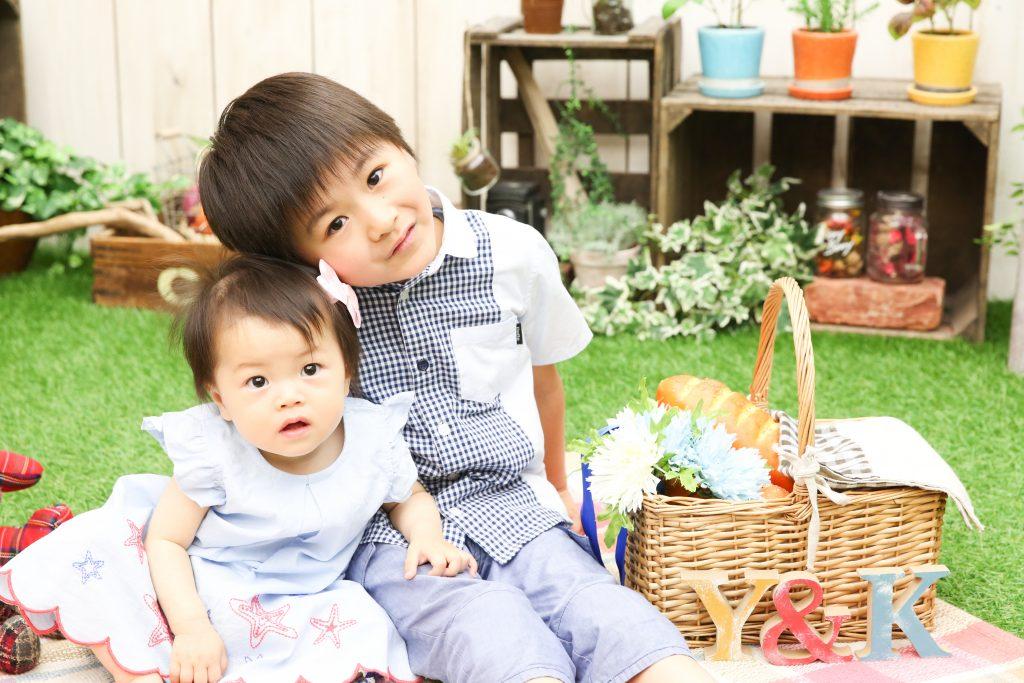 【1歳バースデイ・入学】1歳女の子と6歳男の子