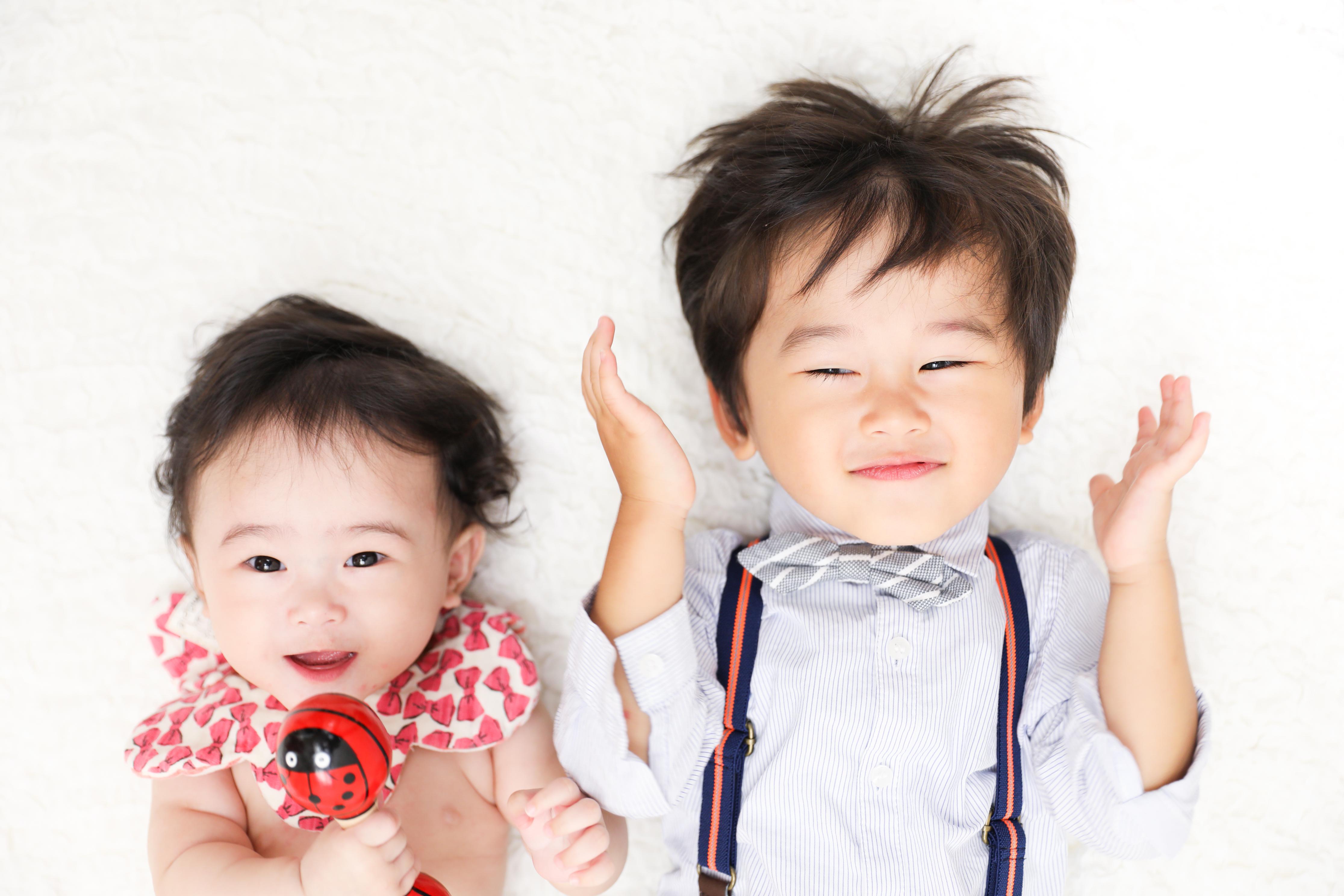 【ハーフバースデイ】0歳女の子、2歳男の子