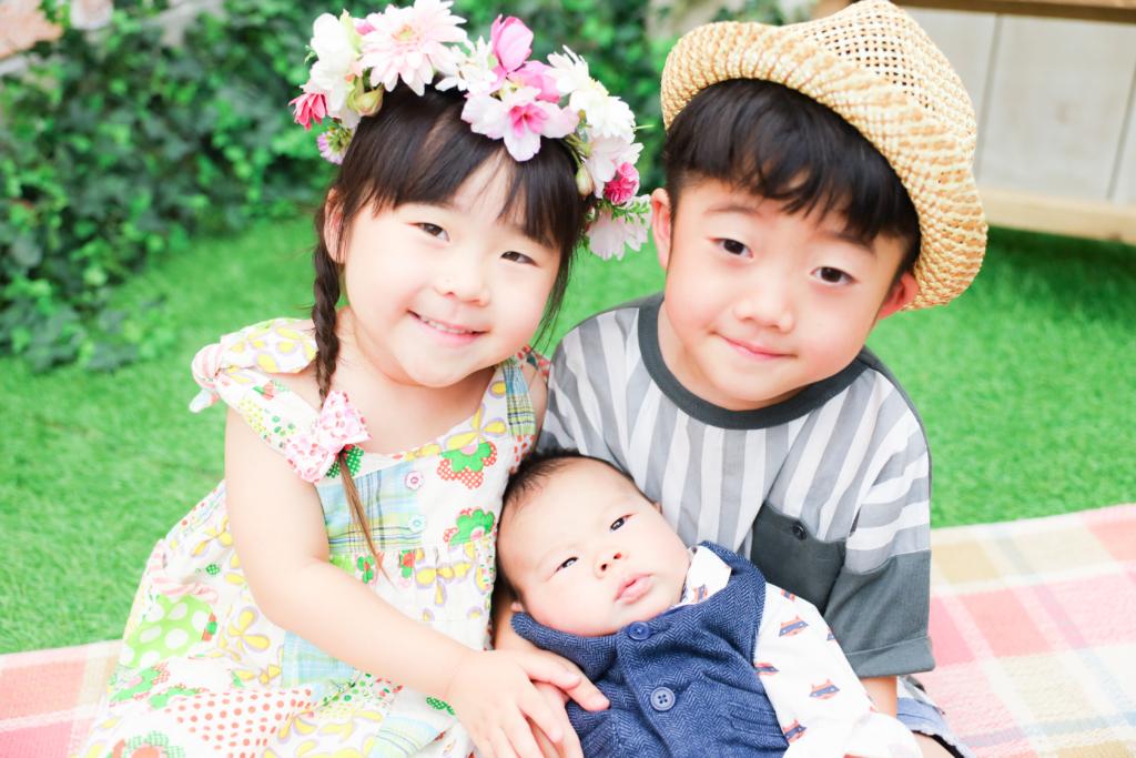 【入学・お宮参り】6歳男の子・3歳女の子・1か月半男の子